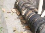 Antes de preencher com a caliça, calce os pneus para não haver deslocamentos.